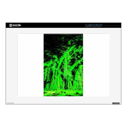 El arte abstracto verde agita los colores de Digit Skins Para 38,1cm Portátil