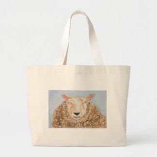 El arte animal del aceo de la acuarela de las ovej bolsa tela grande