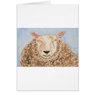 El arte animal del aceo de la acuarela de las ovej tarjeta de felicitación