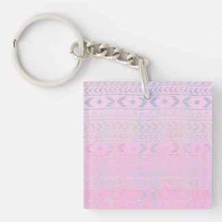El arte azteca rosado lindo influenció el modelo llavero cuadrado acrílico a doble cara