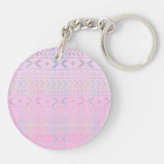 El arte azteca rosado lindo influenció el modelo llavero redondo acrílico a doble cara