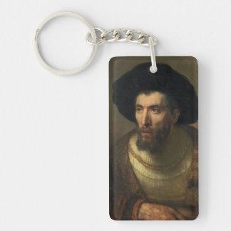 El arte barroco del retrato de Rembrandt del Llavero Rectangular Acrílico A Doble Cara