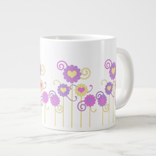El arte brillante, colorido florece con la taza de taza grande