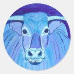 El arte de acrílico azul de la pintura del retrato pegatina redonda