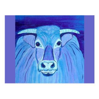 El arte de acrílico azul de la pintura del retrato postal
