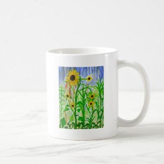 El arte de acrílico de los girasoles florece la taza clásica