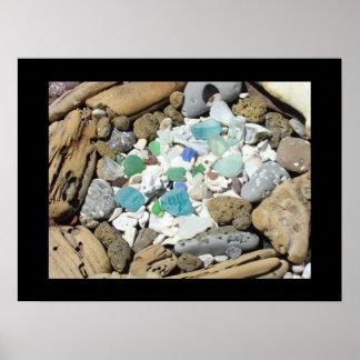 El arte de cristal del mar azul imprime el mar del impresiones