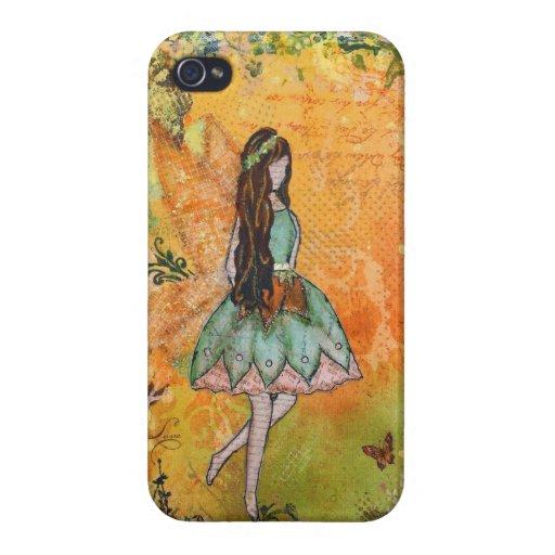 El arte de hadas de la primavera de Janelle Nichol iPhone 4 Carcasa