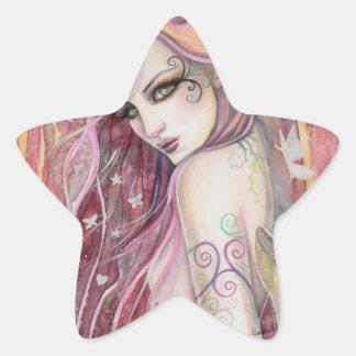 El arte de hadas moderno de la fantasía del ligón pegatina en forma de estrella