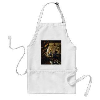 El arte de Juan Vermeer de la pintura circa 1668 Delantales