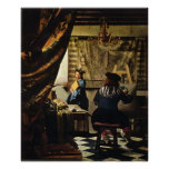 El arte de Juan Vermeer de la pintura circa 1668 Posters