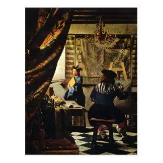 El arte de Juan Vermeer de la pintura circa 1668 Tarjetas Postales