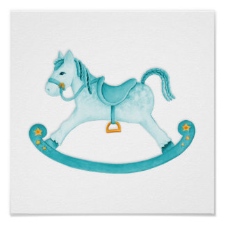 El arte de la acuarela del caballo mecedora poster
