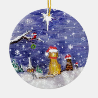 El arte de la acuarela del navidad de los animales adorno redondo de cerámica