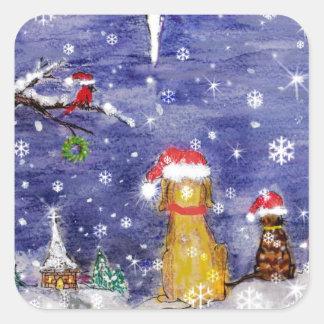 El arte de la acuarela del navidad de los animales pegatina cuadrada