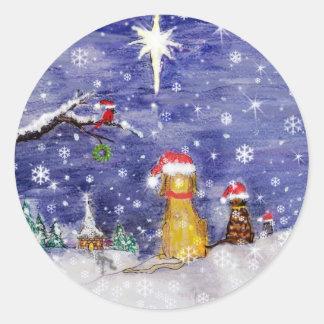 El arte de la acuarela del navidad de los animales pegatina redonda