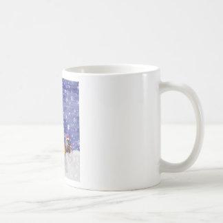 El arte de la acuarela del navidad de los animales taza de café