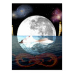 El arte de la carta de tarot de la luna tarjeta postal