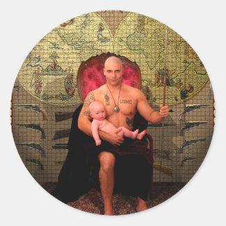 El arte de la carta de tarot del emperador etiquetas redondas