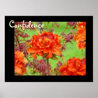 El arte de la confianza imprime las flores anaranj póster