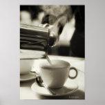 El arte de la fabricación fresca/adición del café  poster