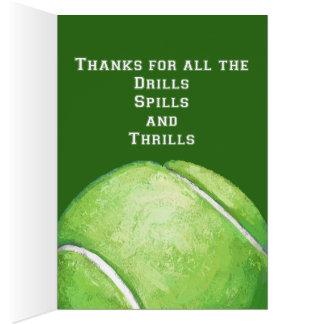 El arte de la pelota de tenis le agradece entrenar tarjeta de felicitación