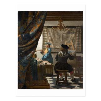 El arte de la pintura de Juan Vermeer Postales