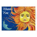 El arte de Sun de la luna azul, amarillo, naranja  Tarjetas