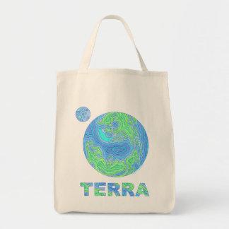 El arte de tierra de la tierra orgánico recicla la bolsa tela para la compra