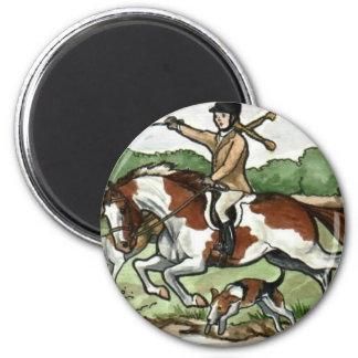 El arte del caballo Foxhunt al chica en potro de l Imán Redondo 5 Cm