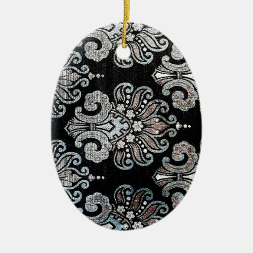El arte del hermoso diseño florece color floral de adorno navideño ovalado de cerámica