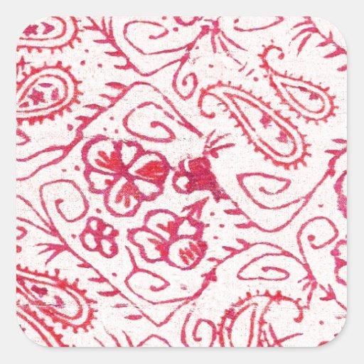 El arte del hermoso diseño florece color floral de pegatina cuadrada