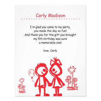 El arte del Kiddie personalizado le agradece carda Comunicado Personal