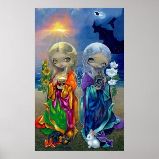 El ARTE del niño de Sun y del niño de luna IMPRIME Póster