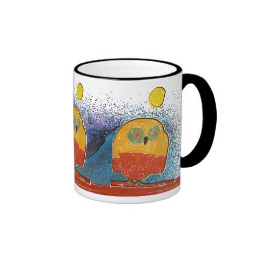 El arte del niño del pájaro del búho taza de café