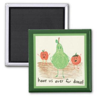 El arte del niño, verde iman para frigorífico