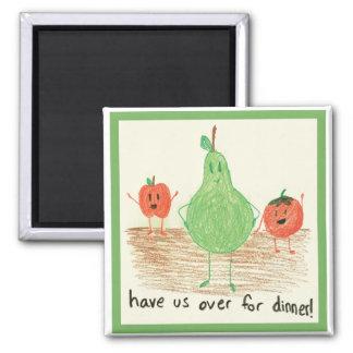 El arte del niño, verde iman de frigorífico