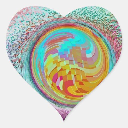 El arte del orbe pegatina en forma de corazón