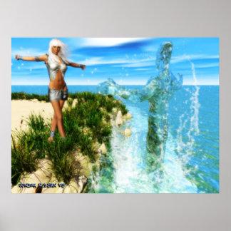 El arte del poster de Waterbending