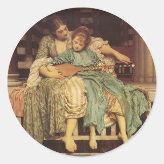 El arte del Pre-Raphaelite de la lección de música Pegatina Redonda