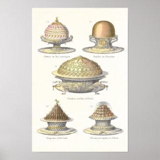 El arte del Soufflé - pasteles antiguos del vintag Posters