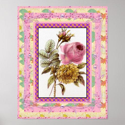El arte del vintage del poster florece rosa con el