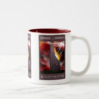 El arte descendente de la carta de tarot de la taza de café de dos colores