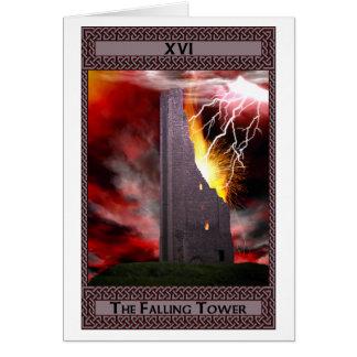 El arte descendente de la carta de tarot de la tor tarjeta de felicitación