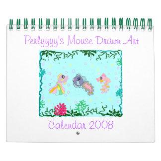 El arte dibujado ratón de Perlyyyy Calendarios De Pared