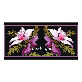 El arte digital del flor del melocotón le agradece tarjetas personales con fotos