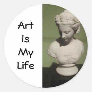 """El """"arte es los pegatinas redondos de mi vida"""" etiqueta redonda"""