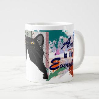 ¡El arte es para todos - incluso gatos! Taza Grande
