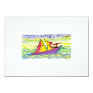 El arte es un barco con una vela del arco iris invitación