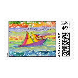 El arte es un barco con una vela del arco iris sellos